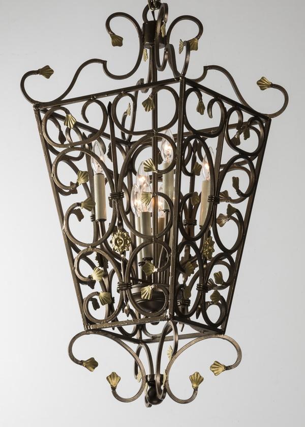 Continental wrought iron scrollwork lantern