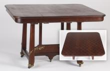 French bronze mounted parquetry inlaid table, 47