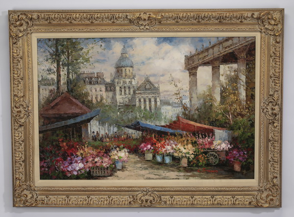20th c. O/c of Parisian flower market, signed