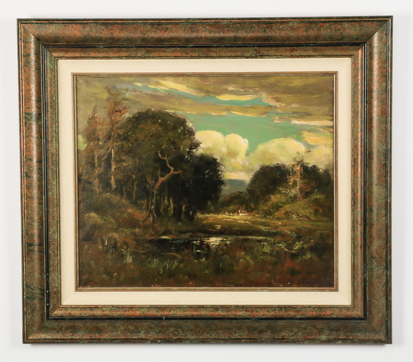 Continental O/c of lake and country houses, signed
