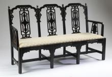 Ebonized Chinoiserie style bench, 68.5