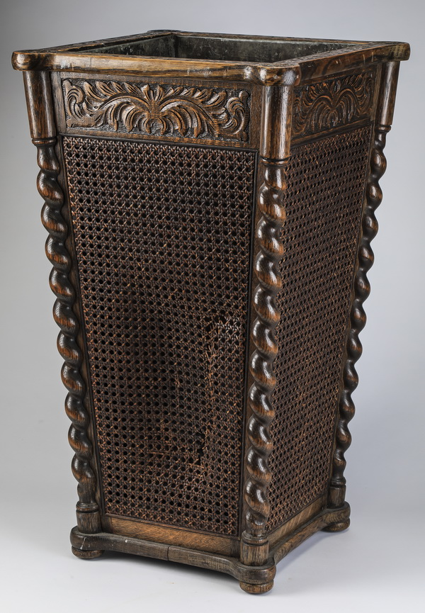 19th c. carved walnut and cane umbrella stand, 26