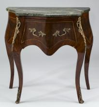 Louis XV style petite mahogany marble top commode