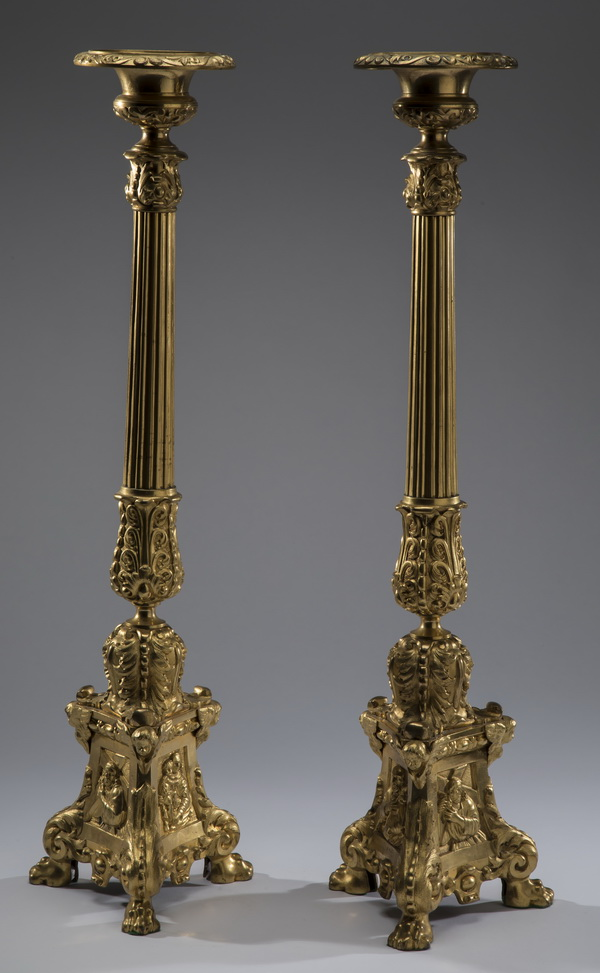 (2) 19th c. gilt bronze candle prickets, 29