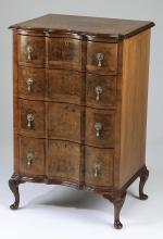Petite Queen Anne style burl parquetry inlaid chest