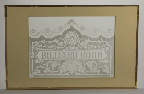 'BILLARD ROOM' etched glass architectural panel, 60