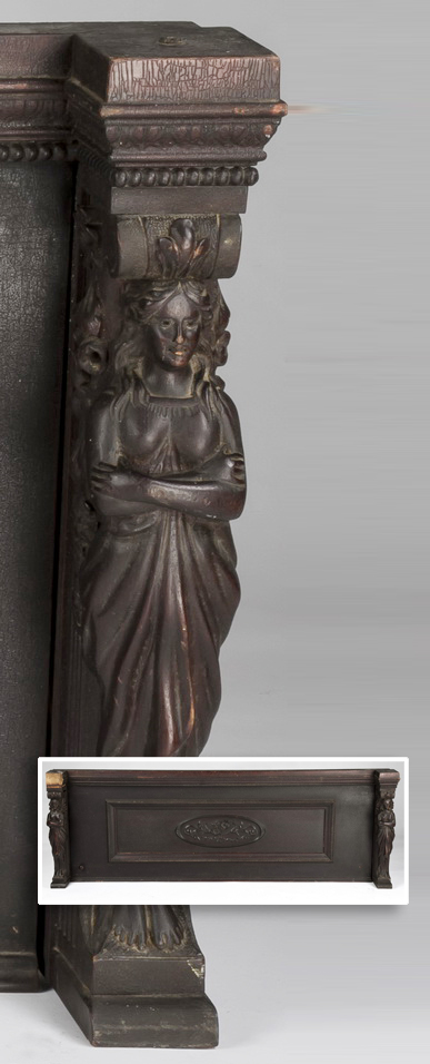 19th c. figural carved architectural panel, 58