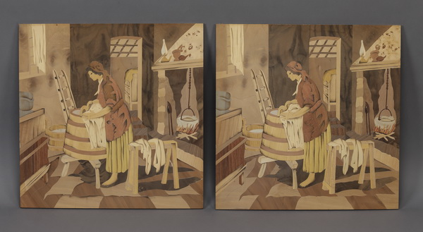 (2) Italian marquetry panels of an old word interior