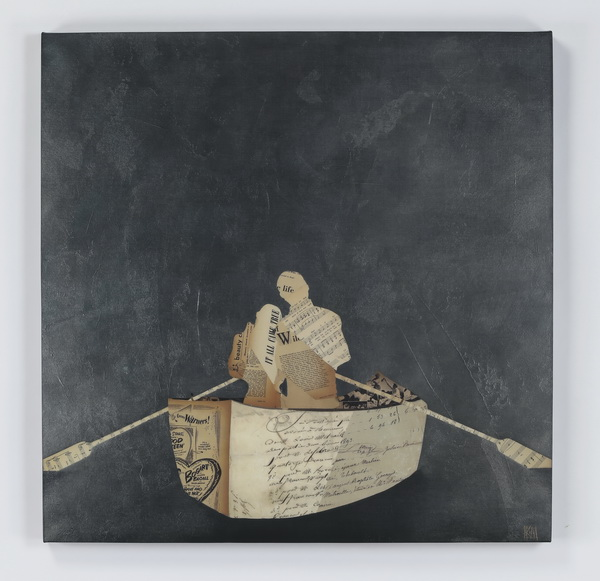 Contemporary giclee of collage of couple in rowboat