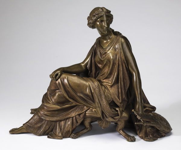 19th c. French patinated bronze of Sappho, 12