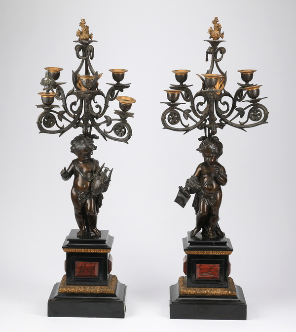 (2) 19th c.bronze and marble candelabra, 32