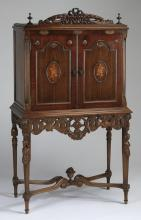 Early 20th c. marquetry inlaid cabinet on stand