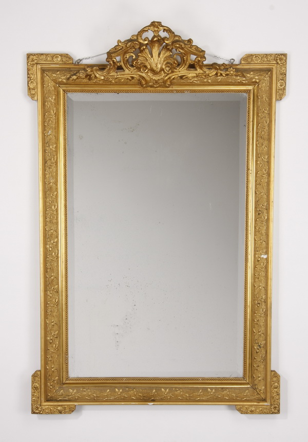 19th c. French carved giltwood mirror, 52