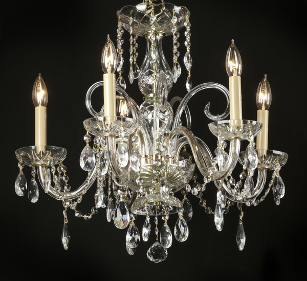 Continental 5-arm crystal chandelier, 20