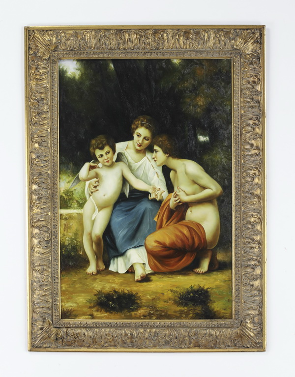 After W. Bouguereau, oil on canvas titled 'Adoration'