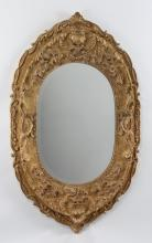 Oval gilt floral wall mirror, 64