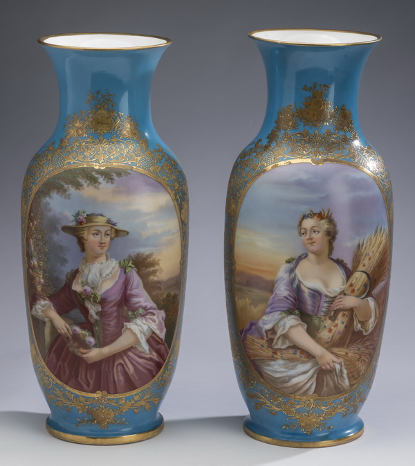 (2) 19th c. French hand painted porcelain vases