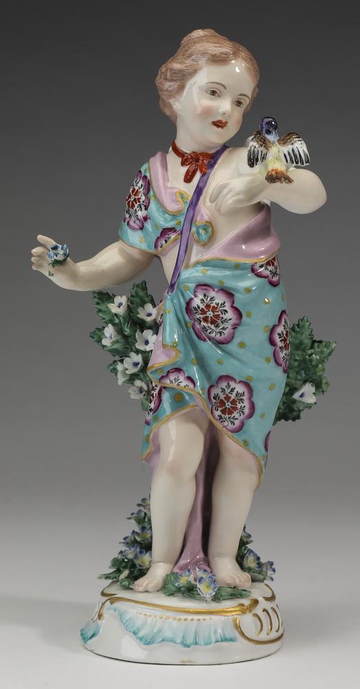 19th c Chelsea porcelain figure of girl w/ bird