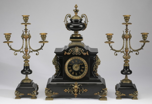 19th c. gilt bronze and Belgian marble garniture set