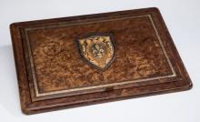 Continental tooled leather desk pad & blotter, 24