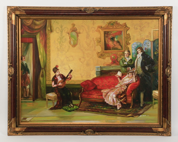 Continental School interior scene, artist signed