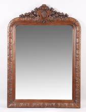 19th c. French carved oak overmantel mirror, 62