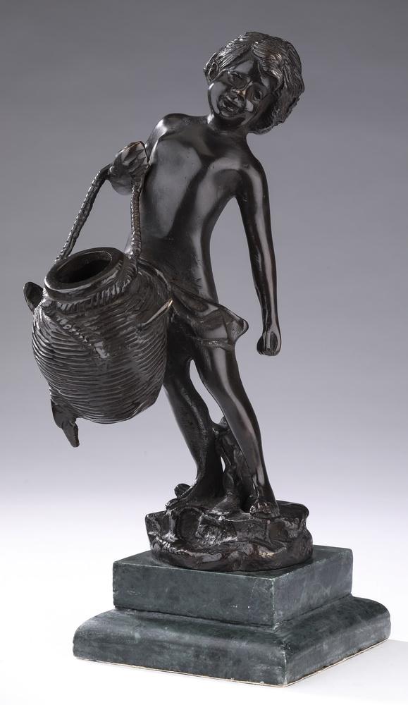 Bronze figure of a boy carrying a water jug, 10