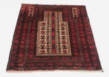 Hand knotted Baluch Kaudani wool prayer rug