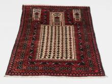 Hand knotted Baluch wool prayer rug