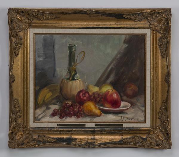 A. Karafyllakis signed O/c still life of fruit & wine