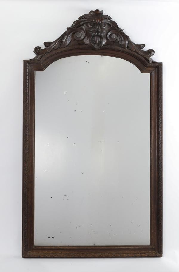 19th c. American carved walnut mirror
