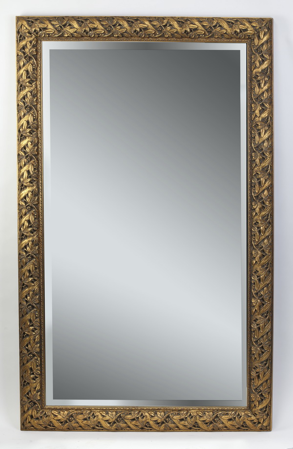 Contemporary gilded rectangular beveled mirror, 61