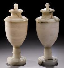 (2) Urn form alabaster potpourris, 12