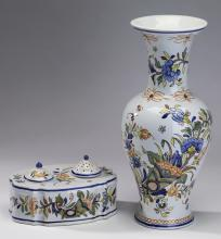 (2) French hand painted Rouen faience, 14