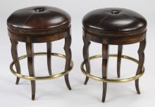 (2) Swivel seat brown leather bar stools, each 23