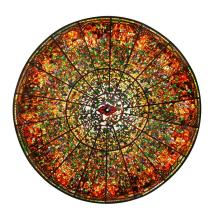 Monumental American stained glass dome, 17 ft dia.