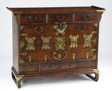 Korean Bandaji style mahogany chest w/ brass accents