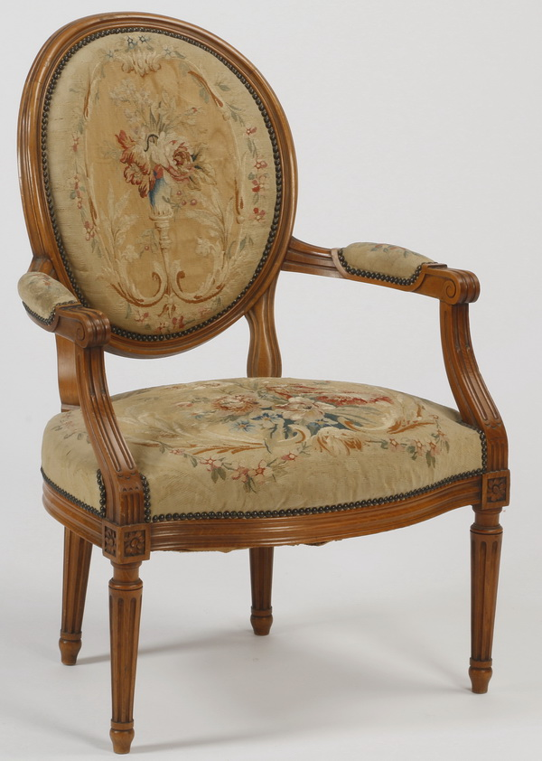 19th c french fauteuil with petit point upholstery for Furniture 96 taren point