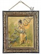 19th c. tryptich mirror w/ paintings