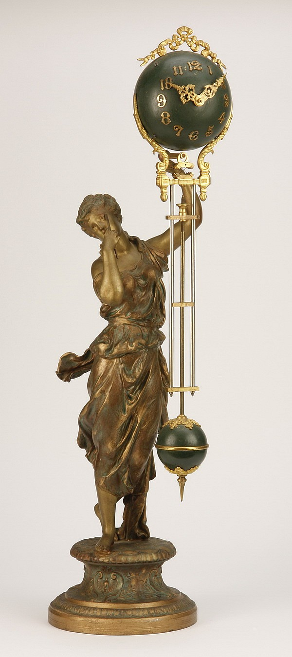 19th c. figural French swinger clock