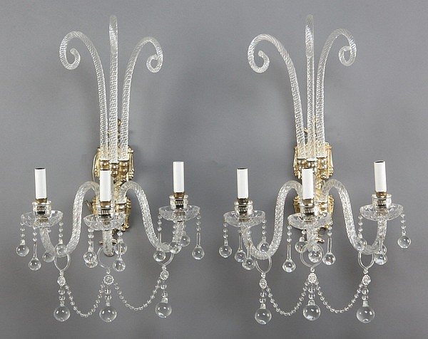 (2) 20th c. Murano crystal wall sconces