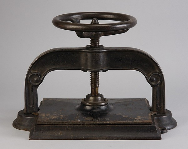 19th c. American cast iron book press