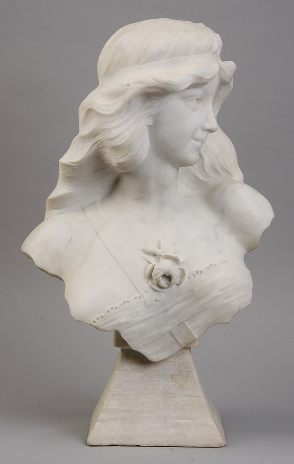 19th c. Art Nouveau marble bust of a maiden