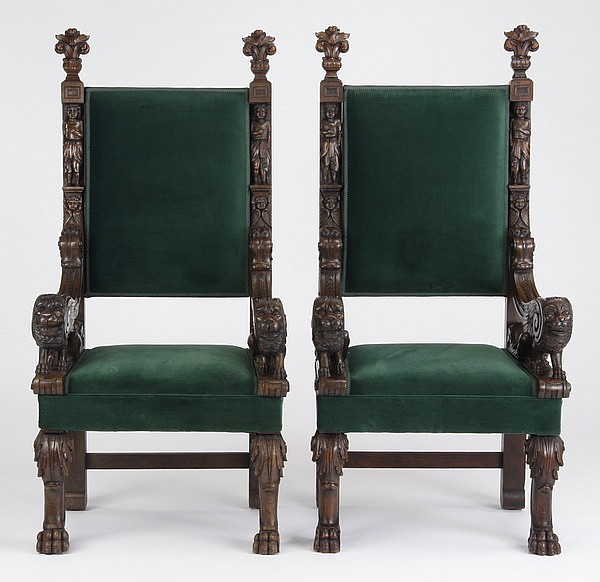 (2) Mid 19th c. Continental throne chairs