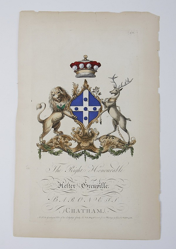 (2) 18th c. hand colored heraldic engravings