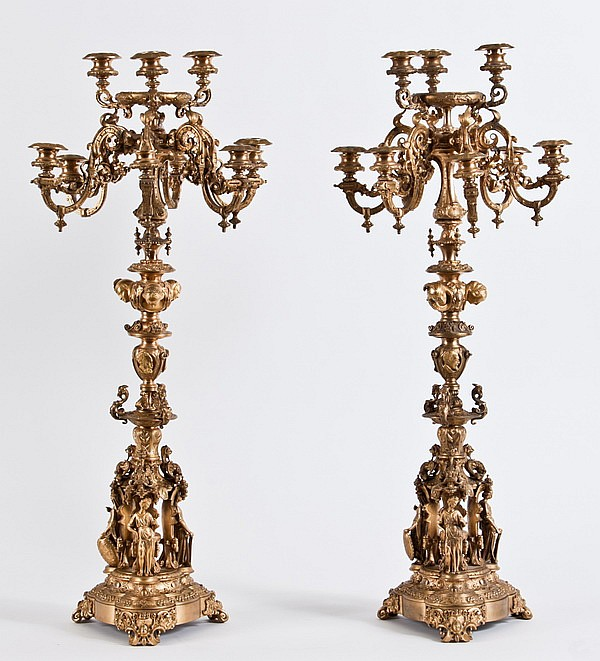 (2) Oversized 19th c. French candelabra 35