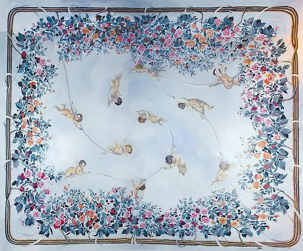 Monumental Italian oil on canvas ceiling mural