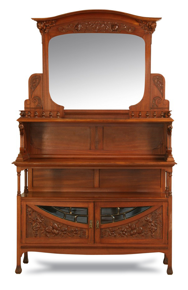 19th c french art nouveau walnut buffet. Black Bedroom Furniture Sets. Home Design Ideas