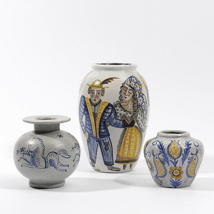 Three decorated glazed pottery vases
