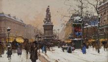 Fausto Giusto (1867-1941) Place Clichy à Paris, aquarelle et goua